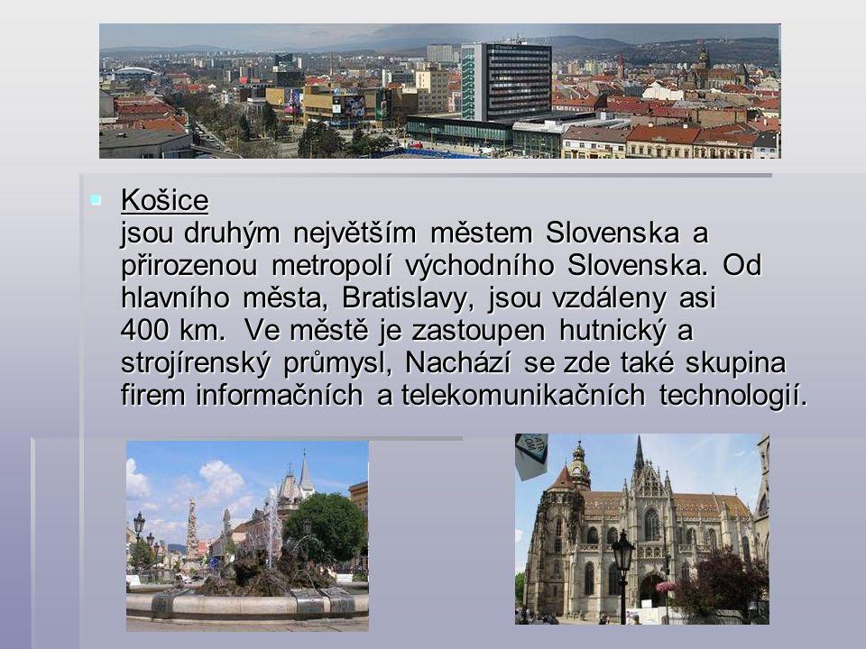 Košice jsou druhým největším městem Slovenska a přirozenou metropolí východního Slovenska.