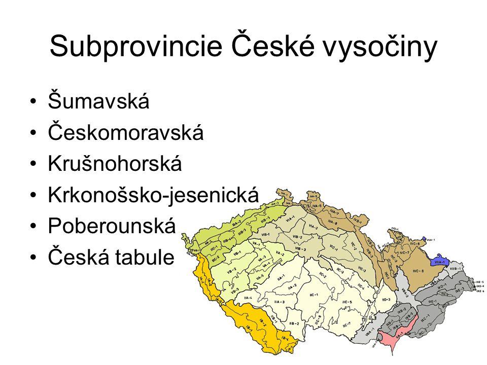 Subprovincie České vysočiny