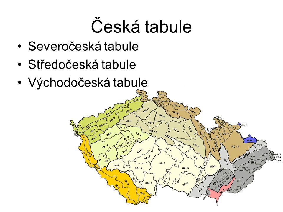 Česká tabule Severočeská tabule Středočeská tabule Východočeská tabule