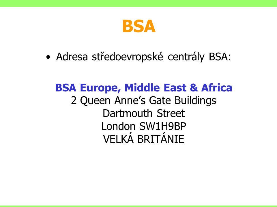 Adresa středoevropské centrály BSA: