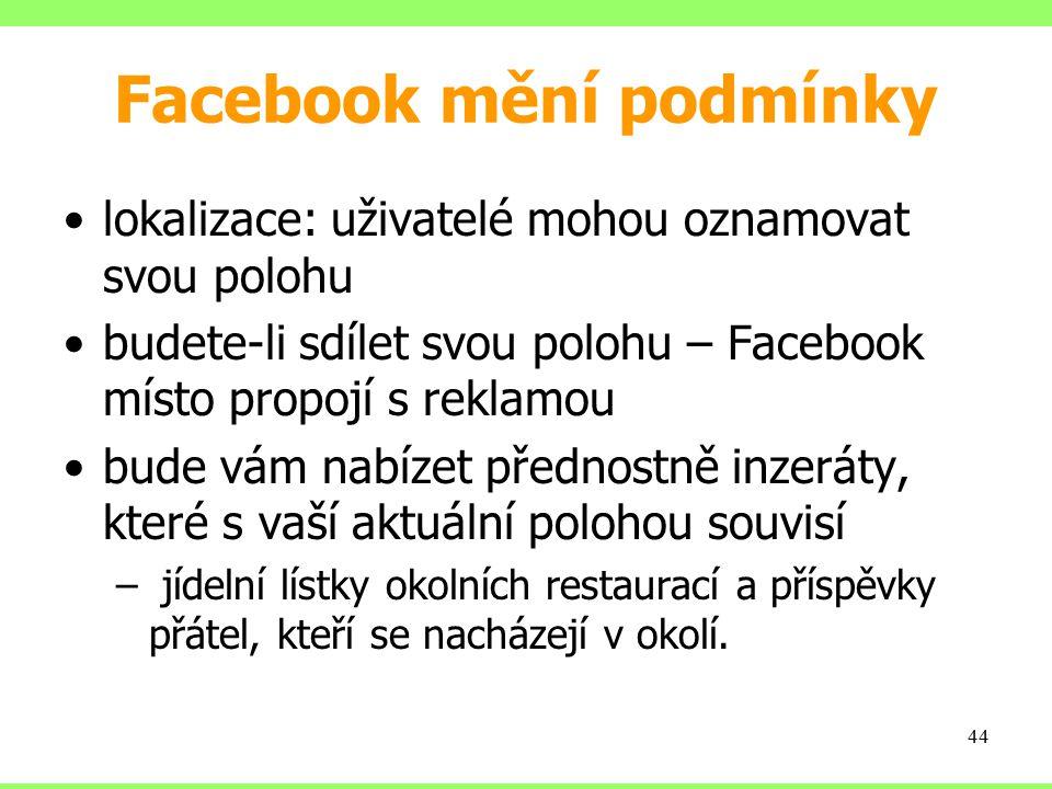 Facebook mění podmínky