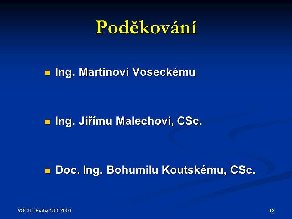 Poděkování Ing. Martinovi Voseckému Ing. Jiřímu Malechovi, CSc.