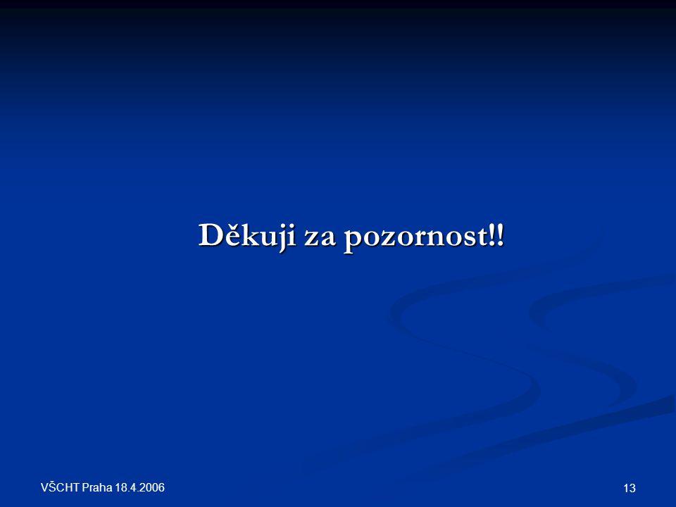 Děkuji za pozornost!! VŠCHT Praha 18.4.2006