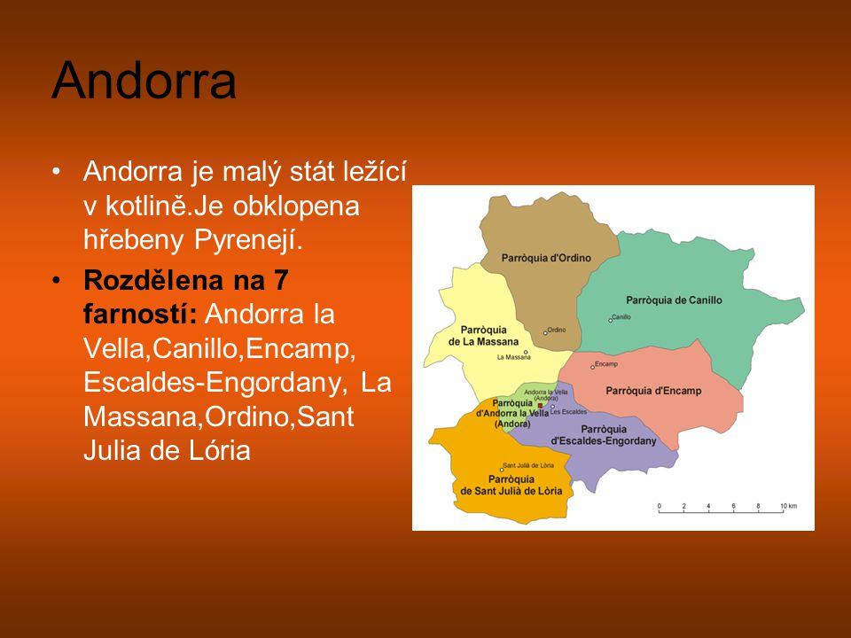 Andorra Andorra je malý stát ležící v kotlině.Je obklopena hřebeny Pyrenejí.