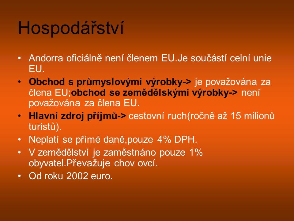 Hospodářství Andorra oficiálně není členem EU.Je součástí celní unie EU.