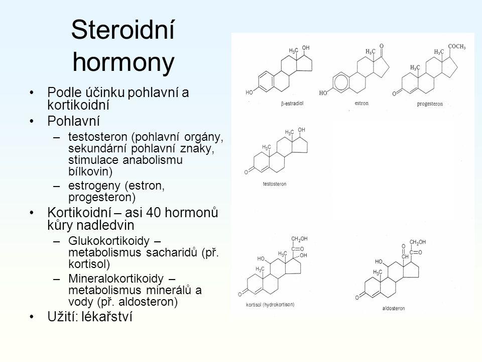 Steroidní hormony Podle účinku pohlavní a kortikoidní Pohlavní