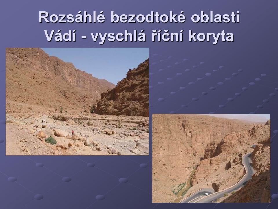 Rozsáhlé bezodtoké oblasti Vádí - vyschlá říční koryta