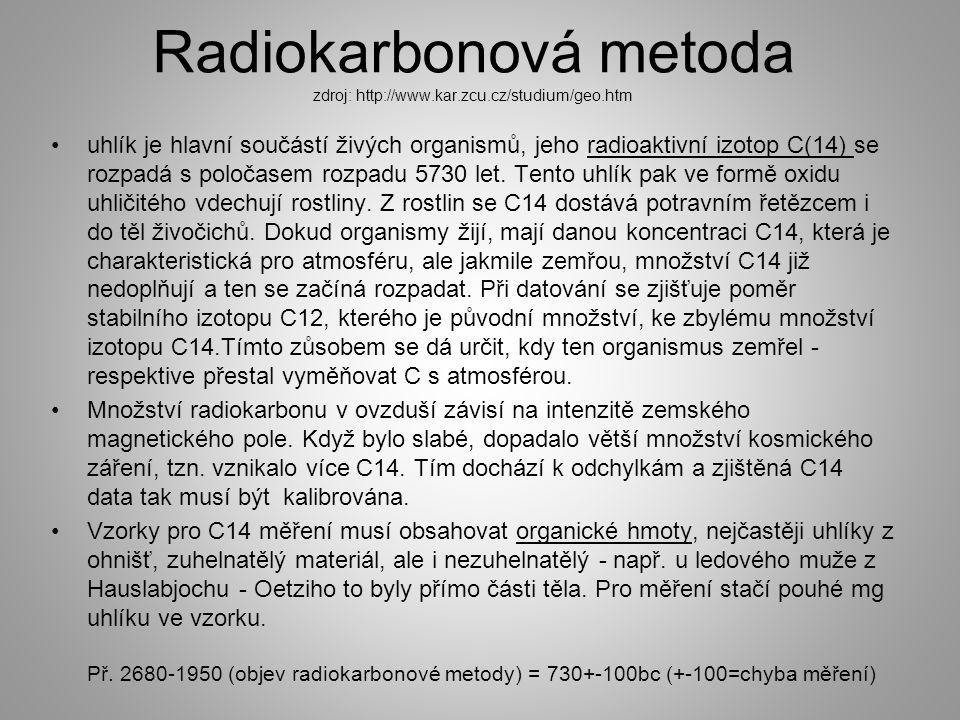 Radiokarbonová metoda zdroj: http://www.kar.zcu.cz/studium/geo.htm