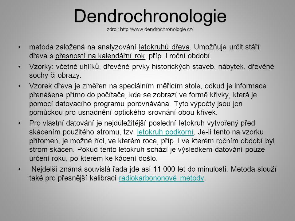 Dendrochronologie zdroj: http://www.dendrochronologie.cz/