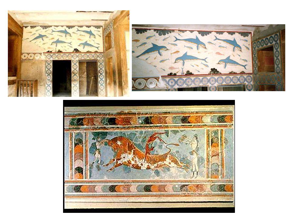 Časté motivy mykénských fresek: moře a tanec s býky, oblíbená krétská zábava.