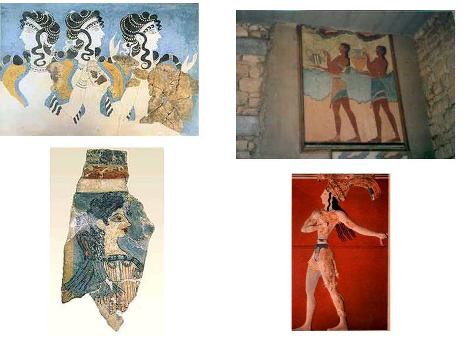 Další fresky: Nahoře Dvorní dámy, pak tzv Pařížanka (za své jméno vděčí poněkud nápadnému zjevu); freska z pozdní mínojské doby; Nosiči rhyt – součást obřadního průvodu na fresce v jedné chodbě jižního křídla knósského paláce. Rhyton – obětní nádoba.