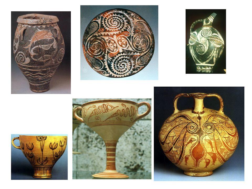 Kamarská keramika; dole mínojský šálek z Théry; píthos (zásobnice na obilí) z Kamares
