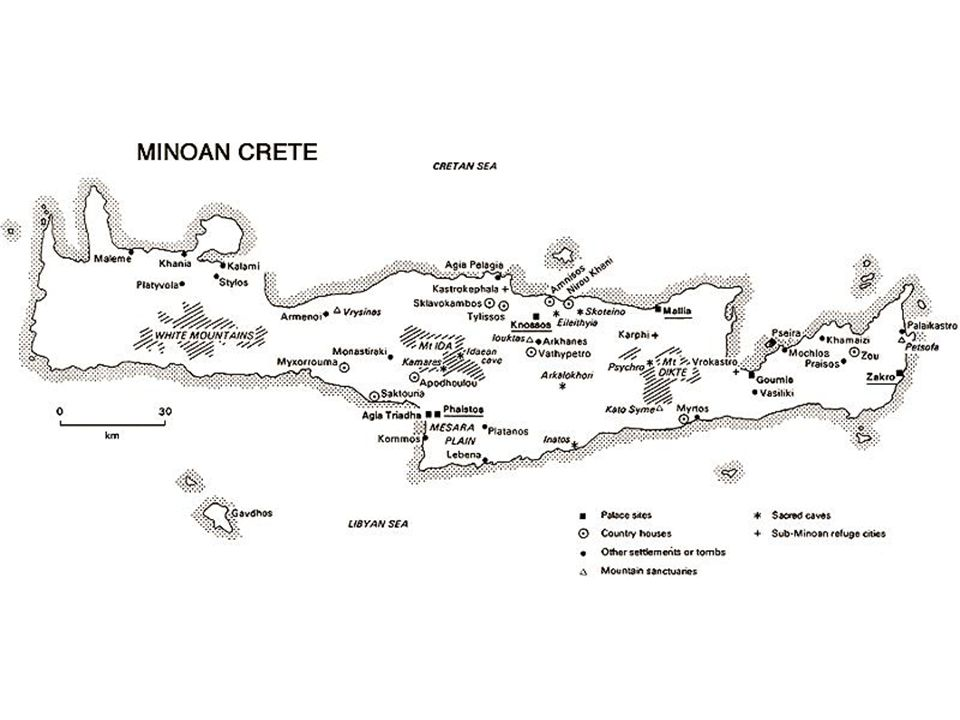 Mapa Kréty s mínojskými městy
