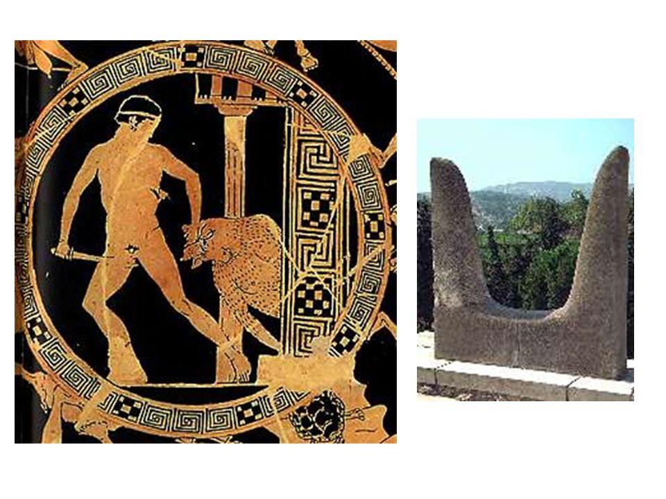 Krétské motivy: Legenda o Théseovi a Minotaurovi; také o Ariadnině niti