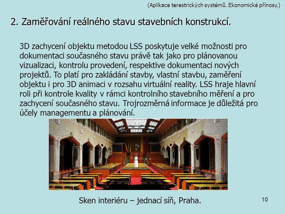 Sken interiéru – jednací síň, Praha.