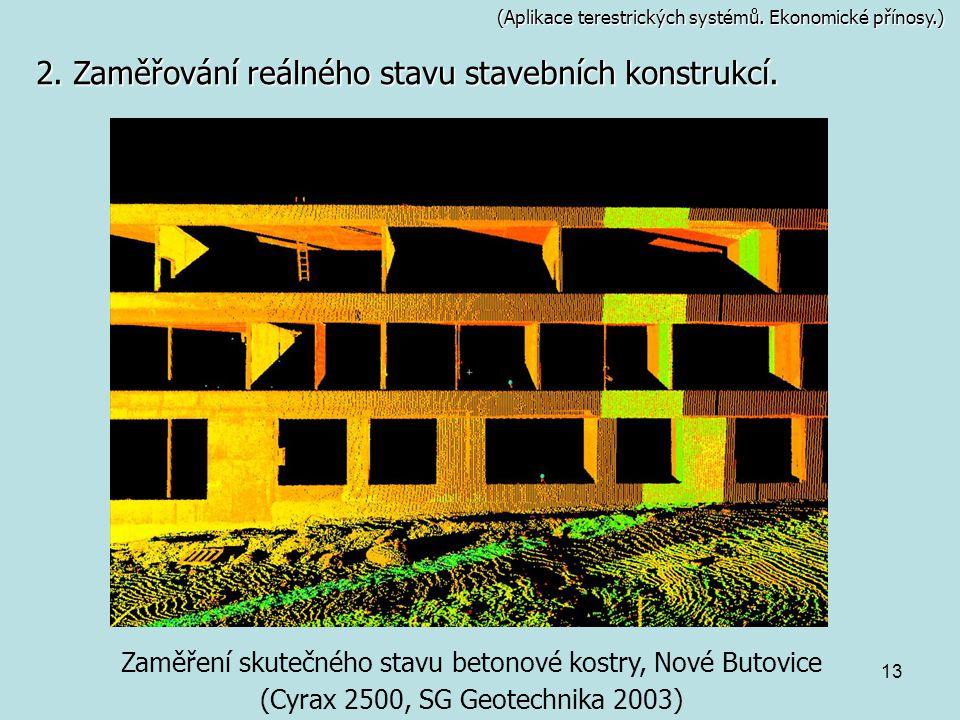 2. Zaměřování reálného stavu stavebních konstrukcí.