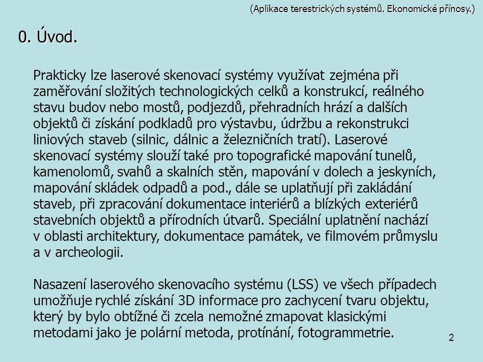 (Aplikace terestrických systémů. Ekonomické přínosy.)