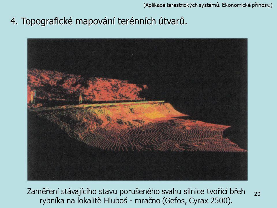 4. Topografické mapování terénních útvarů.