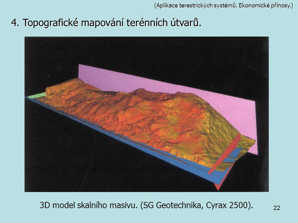 3D model skalního masivu. (SG Geotechnika, Cyrax 2500).