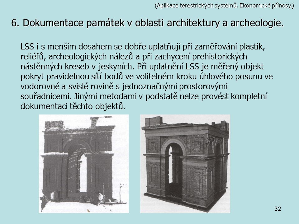 6. Dokumentace památek v oblasti architektury a archeologie.