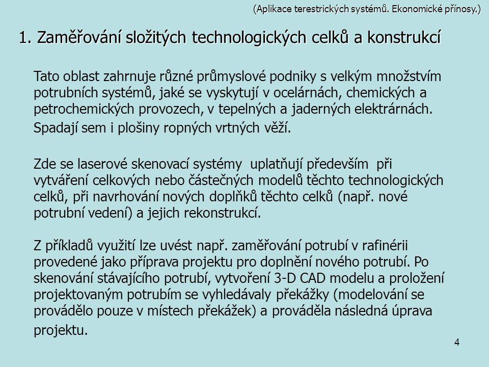 1. Zaměřování složitých technologických celků a konstrukcí