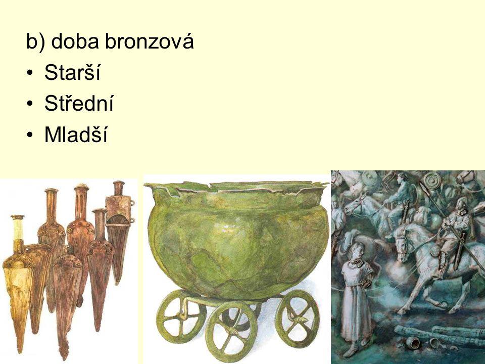 b) doba bronzová Starší Střední Mladší