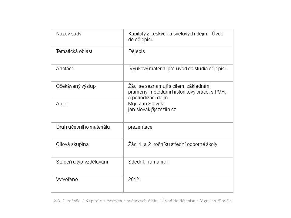 Název sady. Kapitoly z českých a světových dějin – Úvod do dějepisu. Tematická oblast. Dějepis.