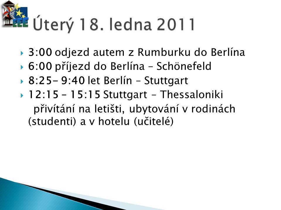 Úterý 18. ledna 2011 3:00 odjezd autem z Rumburku do Berlína
