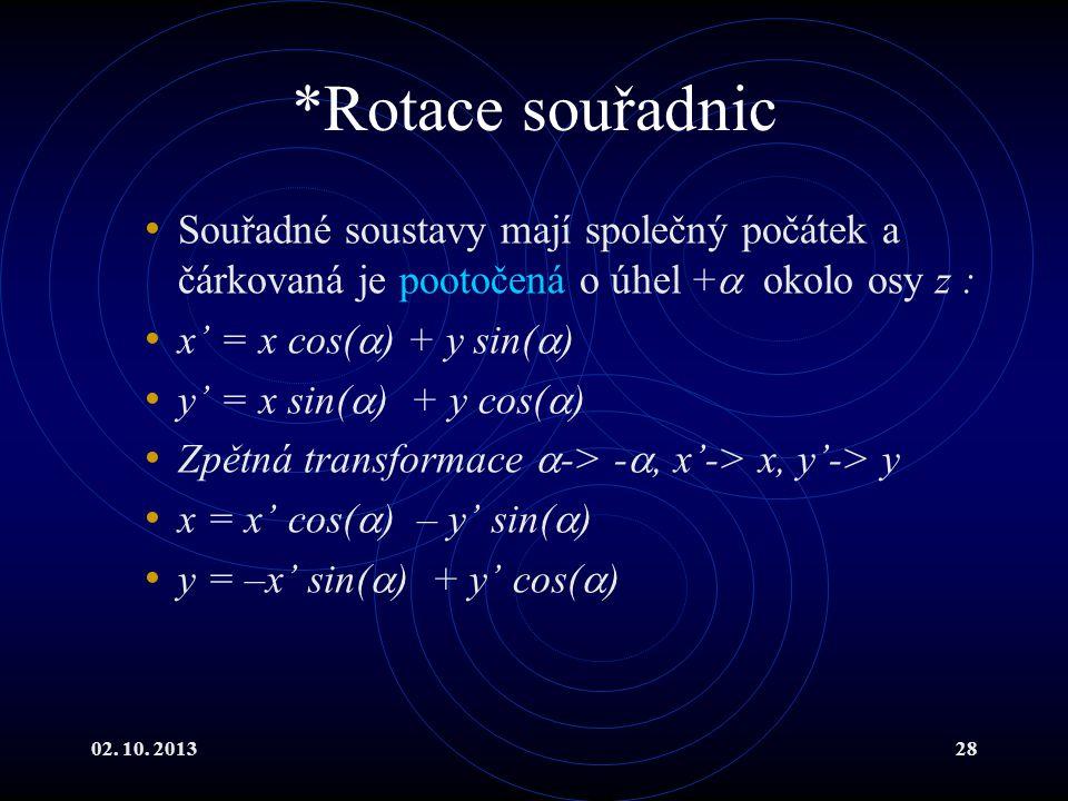*Rotace souřadnic Souřadné soustavy mají společný počátek a čárkovaná je pootočená o úhel + okolo osy z :