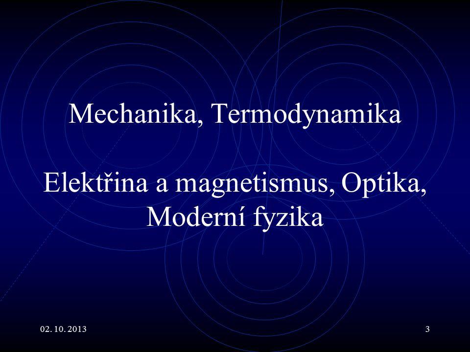 Mechanika, Termodynamika Elektřina a magnetismus, Optika, Moderní fyzika