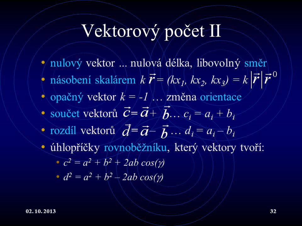 Vektorový počet II nulový vektor ... nulová délka, libovolný směr