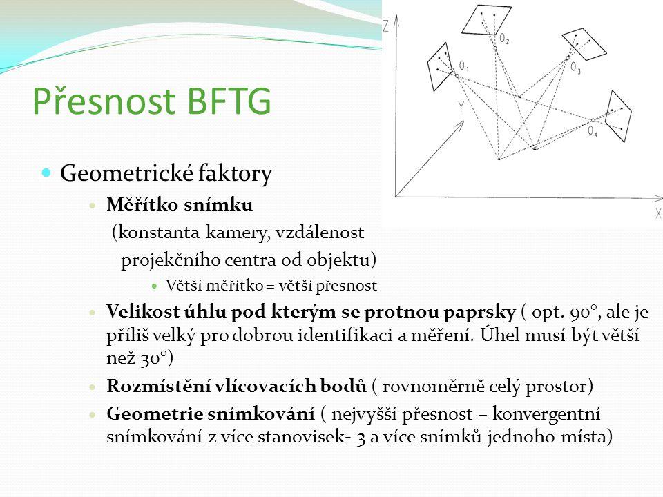 Přesnost BFTG Geometrické faktory Měřítko snímku