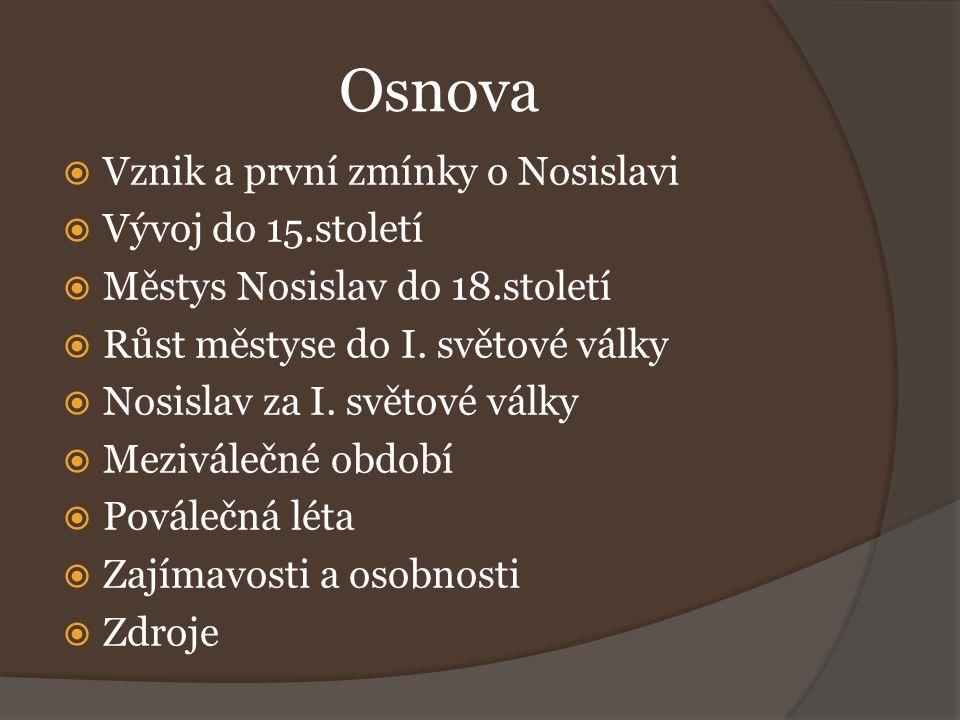 Osnova Vznik a první zmínky o Nosislavi Vývoj do 15.století
