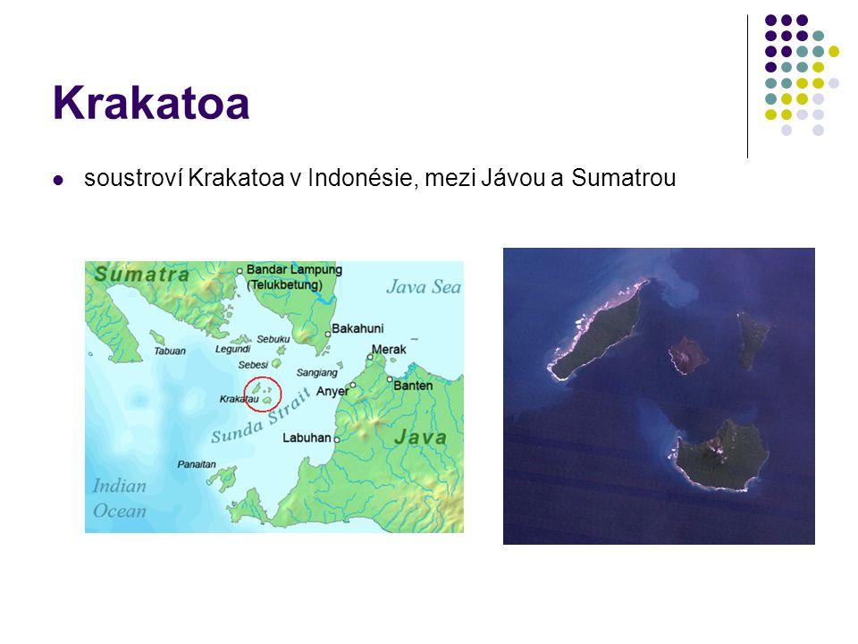 Krakatoa soustroví Krakatoa v Indonésie, mezi Jávou a Sumatrou