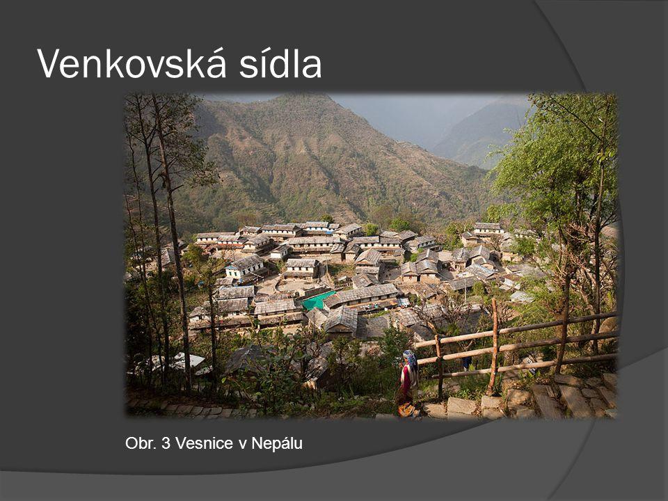 Venkovská sídla Obr. 3 Vesnice v Nepálu