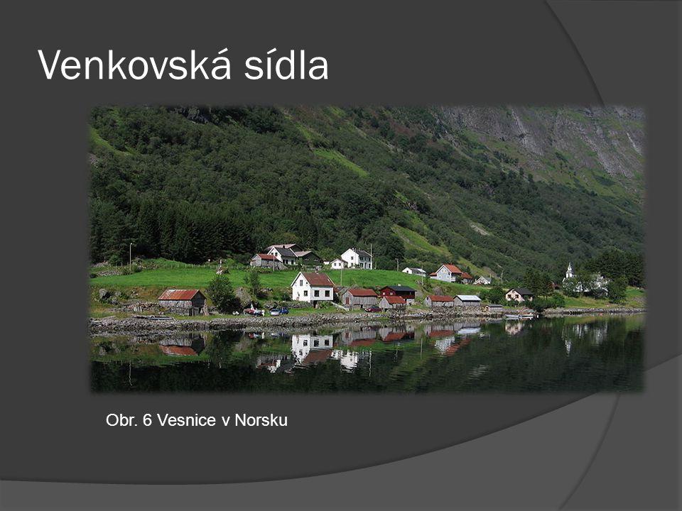 Venkovská sídla Obr. 6 Vesnice v Norsku