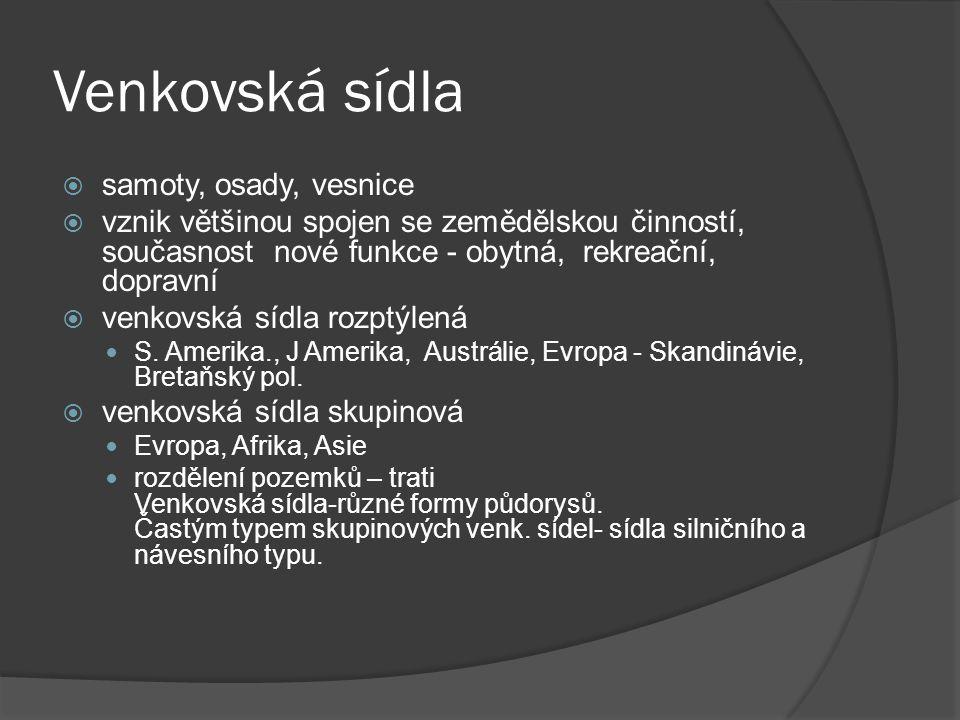 Venkovská sídla samoty, osady, vesnice