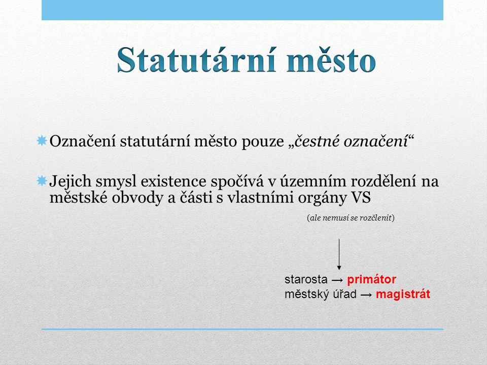 """Statutární město Označení statutární město pouze """"čestné označení"""