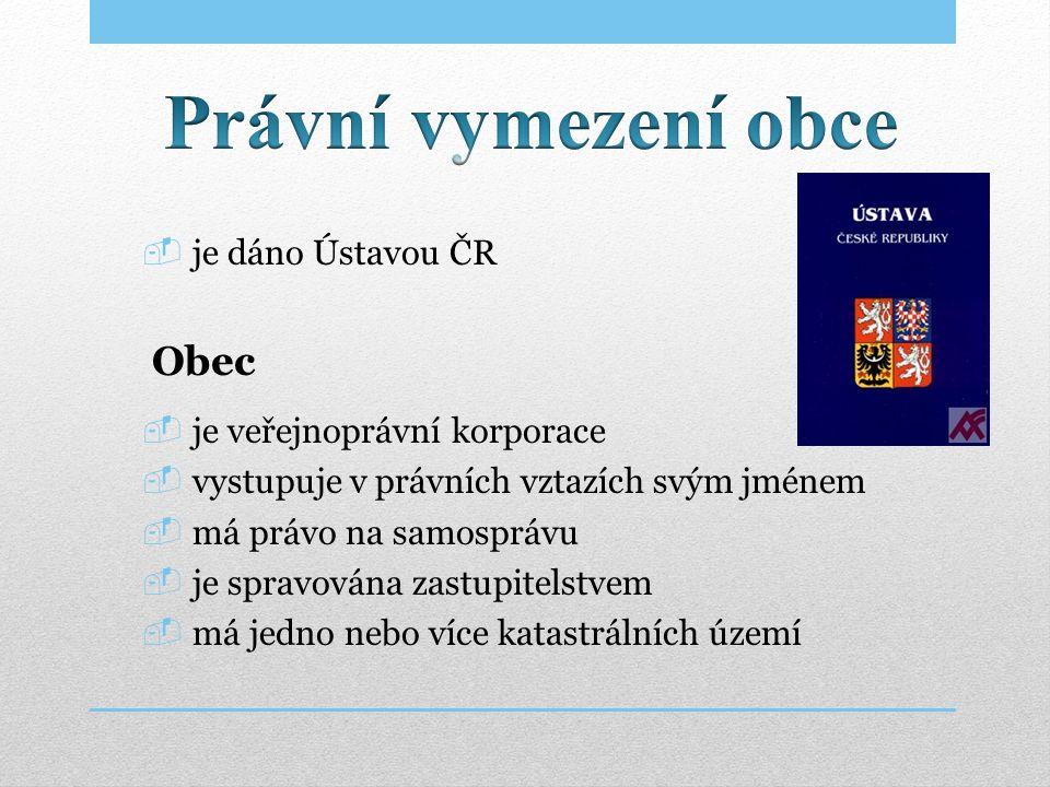 Právní vymezení obce Obec je dáno Ústavou ČR