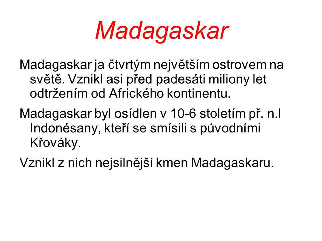 Madagaskar Madagaskar ja čtvrtým největším ostrovem na světě. Vznikl asi před padesáti miliony let odtržením od Afrického kontinentu.