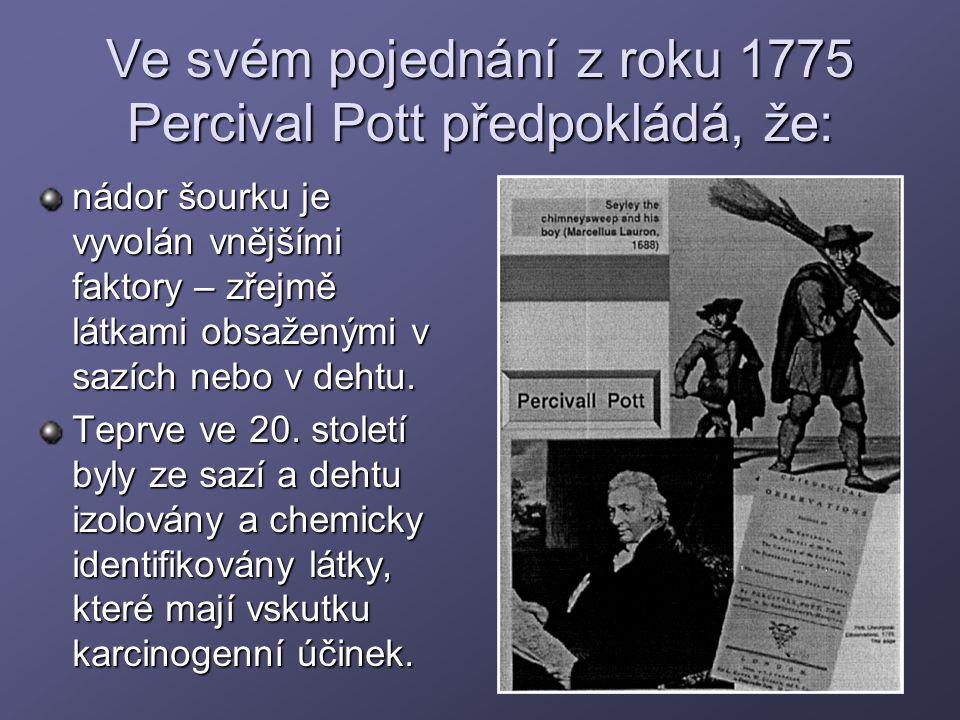 Ve svém pojednání z roku 1775 Percival Pott předpokládá, že: