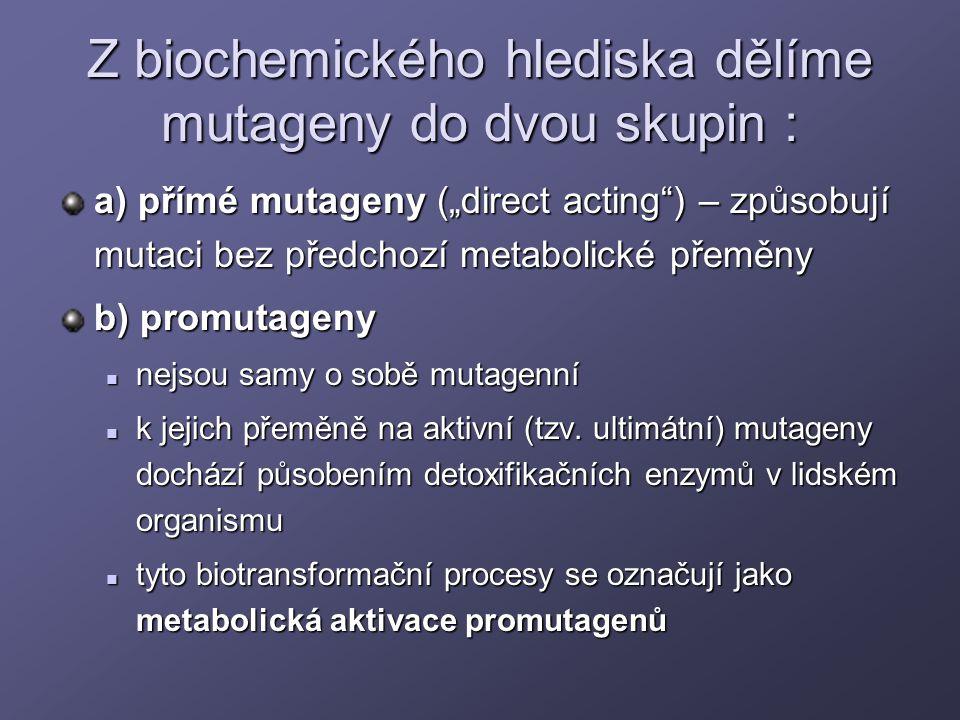 Z biochemického hlediska dělíme mutageny do dvou skupin :