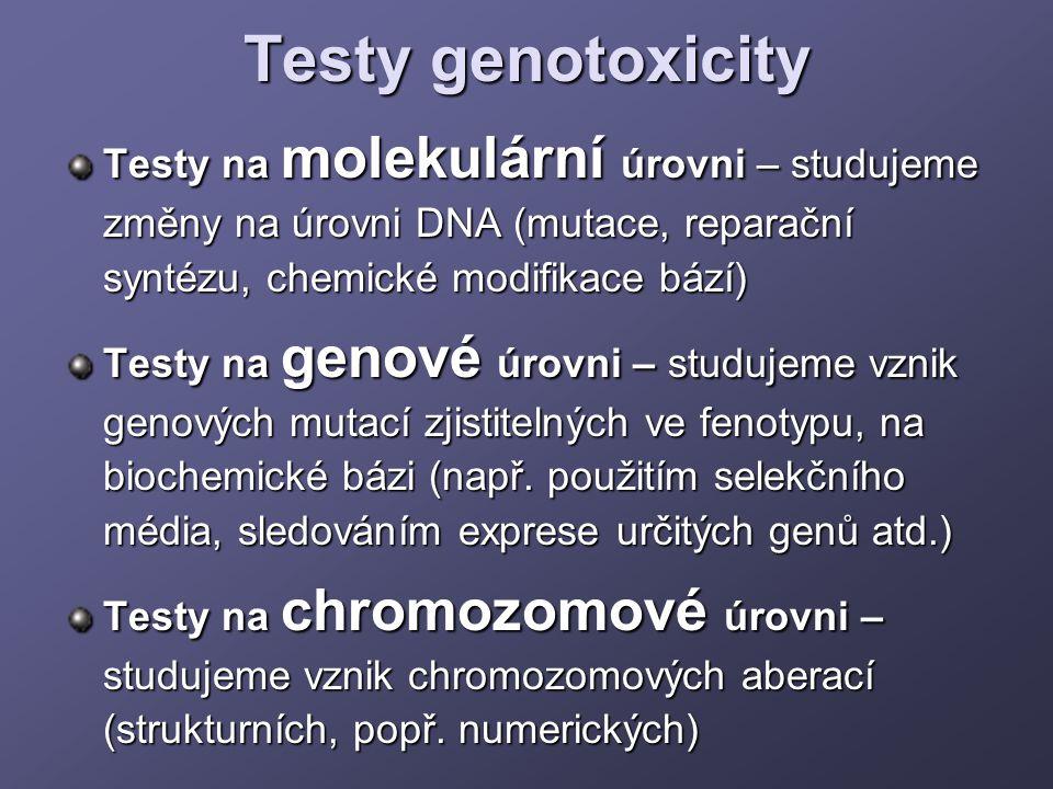 Testy genotoxicity Testy na molekulární úrovni – studujeme změny na úrovni DNA (mutace, reparační syntézu, chemické modifikace bází)