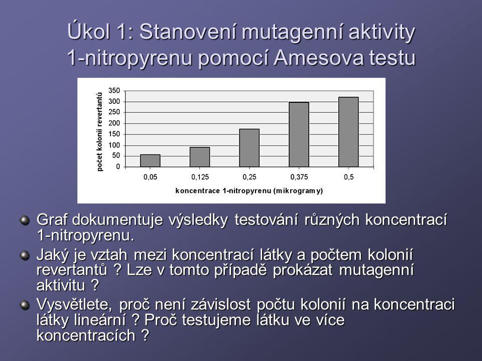 Úkol 1: Stanovení mutagenní aktivity 1-nitropyrenu pomocí Amesova testu