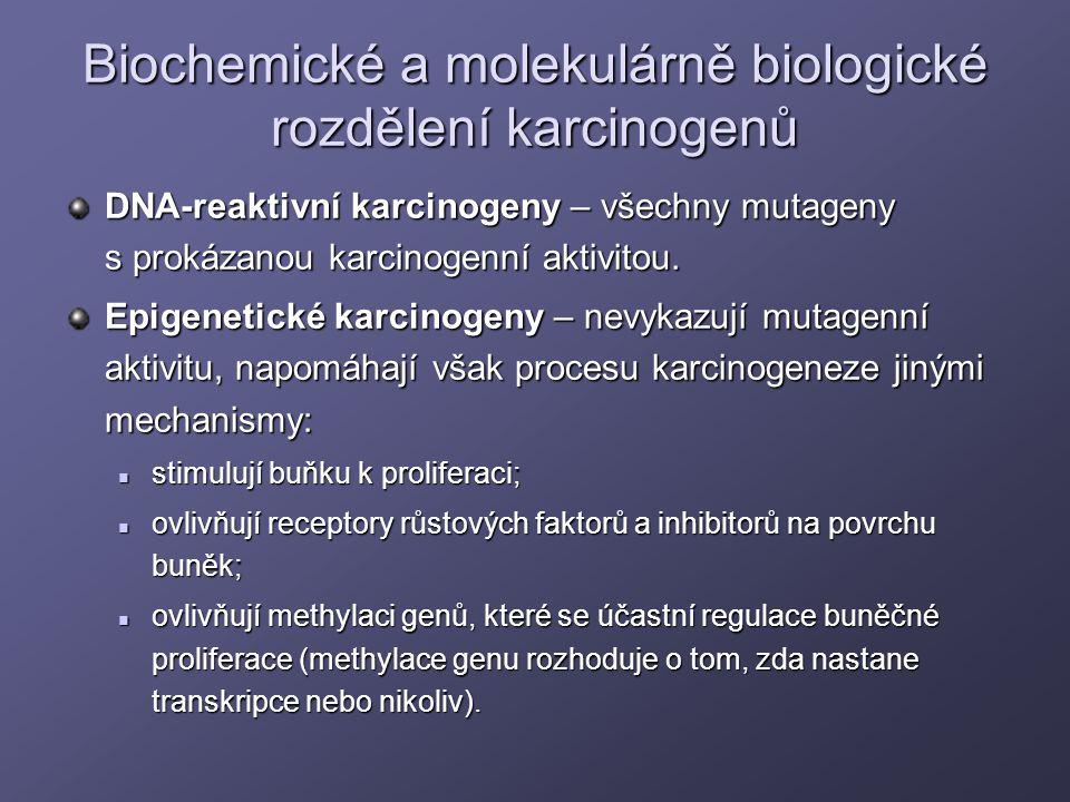 Biochemické a molekulárně biologické rozdělení karcinogenů