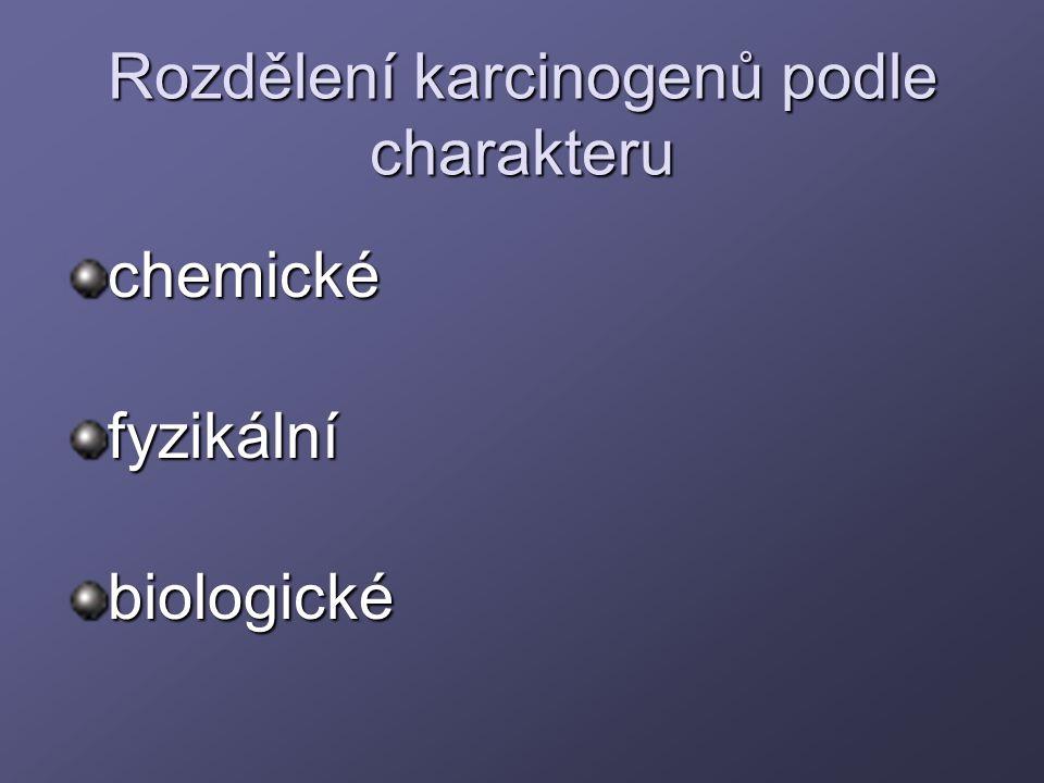 Rozdělení karcinogenů podle charakteru