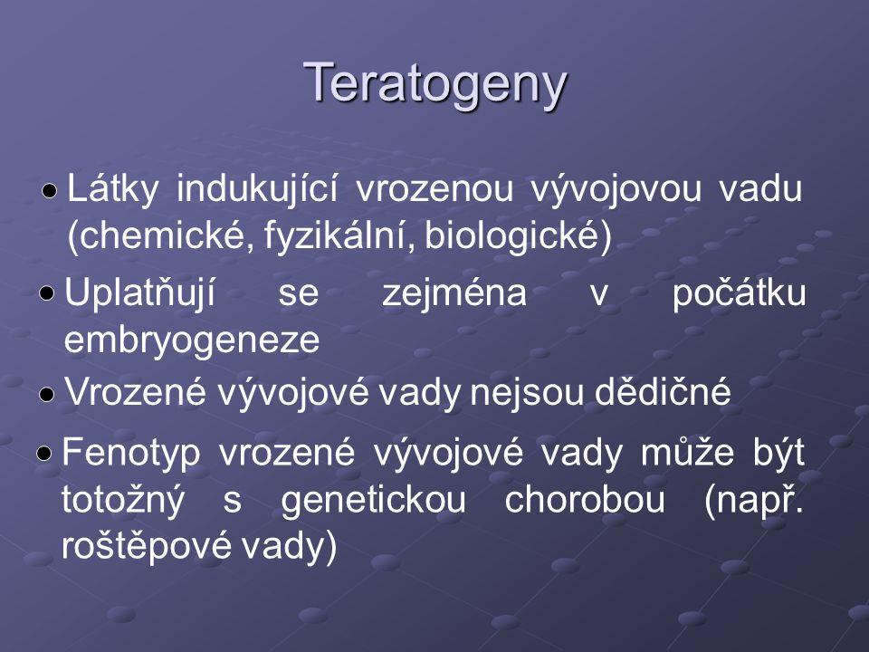 Teratogeny Látky indukující vrozenou vývojovou vadu (chemické, fyzikální, biologické) Uplatňují se zejména v počátku embryogeneze.