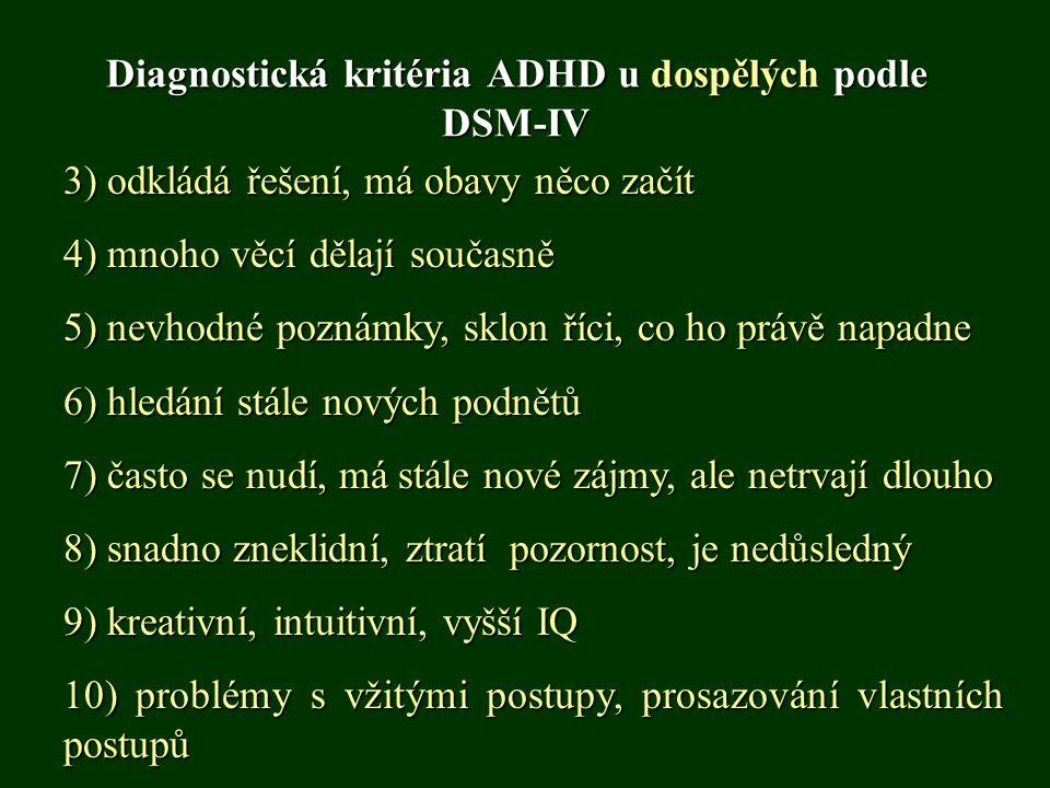 Diagnostická kritéria ADHD u dospělých podle DSM-IV