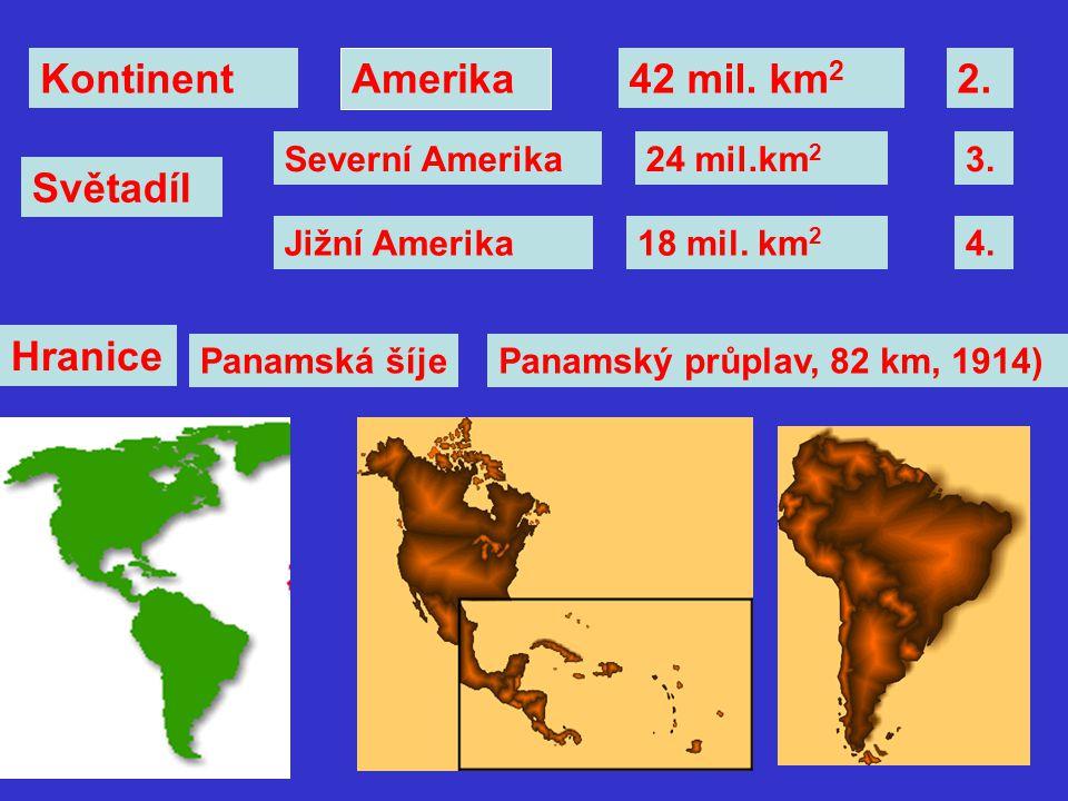 Kontinent Amerika 42 mil. km2 2. Světadíl Hranice Severní Amerika