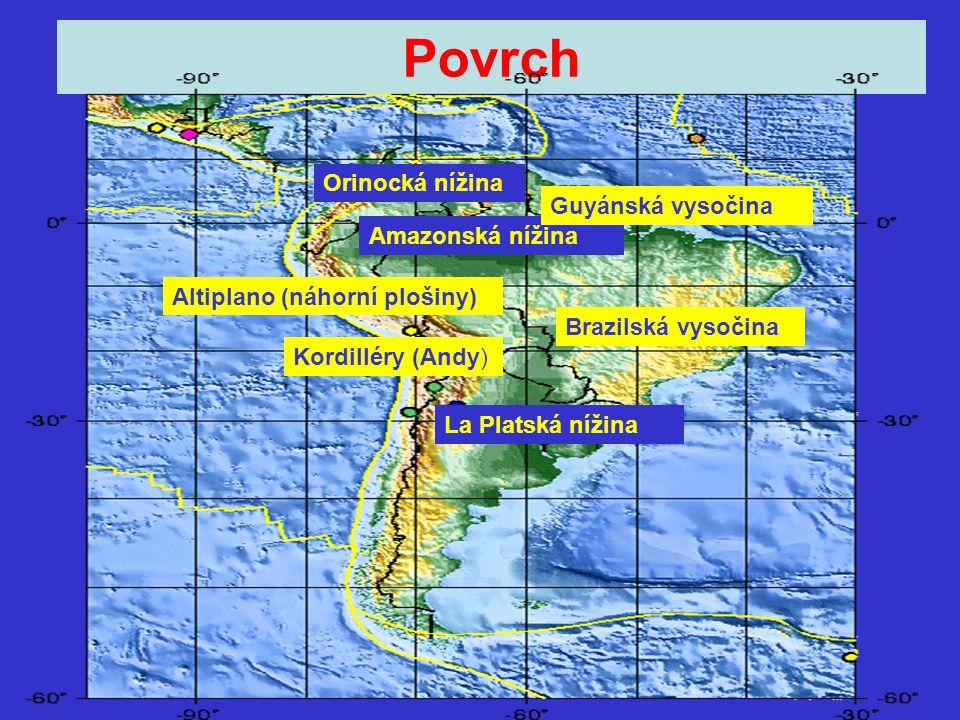 Povrch Orinocká nížina Guyánská vysočina Amazonská nížina